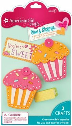 "American Girl Crafts Sew and Shares, Cupcakes by EKSuccess. $7.99. Kit includes: Idea booklet, illustrated instructions, felt, needle, needle threader, pin backs, 1 gift box and other assorted pieces. Sew easy felt cupcakes, tuck in a cute note and share it with a friend and keep one for yourself. Finished size: 2.75"" x 2.625"". For ages 8 and above. From the Manufacturer                Make a mini craft that sends a heartfelt message. With American Girl crafts Sew and..."