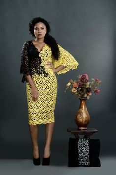 """Say hello to the latest collection from Nigerian Womenswear brand Trish O Couture. Titled """"Femme Fatale"""", the collection is stunning with three main colour - Jennifer Obiuwevbi. African Wear Dresses, Latest African Fashion Dresses, African Print Fashion, Africa Fashion, African Attire, Nigerian Lace Styles, African Lace Styles, African Style, Ankara Styles"""