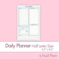 half size planner day on one page printable letter size paperplanner