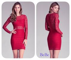 Soft, opulent lace dress has a strategically placed lining that allows for alluring glimpses of skin. Bandeau-lined front bodice and lined skirt. Hidden back zip closure. BeBe
