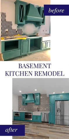 Our basement will be mostly used for guests - whether it's the kids and their friends or if we ever have family staying with us! We wanted guests to be set up with everything they should ever need, so we put a compact kitchen on one wall. Home Design, Tiny House Design, One Wall Kitchen, Basement Kitchen, Mini Kitchen, Basement Remodeling, Basement Ideas, Basement Designs, Basement Storage