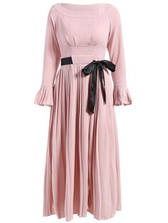 Boat Neck Pleated Flare Sleeve Dress in Pink | Sammydress.com