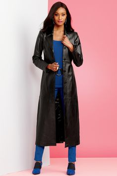 9b5c0e94890 This long length black leather jacket will instantly amp up any outfit you  wear it with