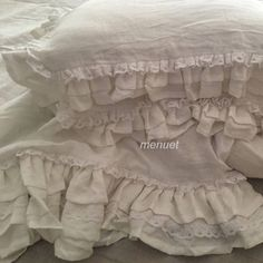 Set of 3 Shabby Prewashed Linen bedding duvet cover comforter water fall ruffle with 2 matching pillowcases White Comforter Cover, Duvet Bedding, Bed Duvet Covers, Linen Bedding, Shabby Chic Bedrooms, Bedroom Vintage, Target Shabby Chic Bedding, Pillowcases & Shams, Bed Linen Sets