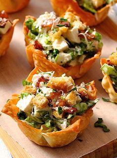 Caesar Salad Wonton Cups. What a cute appetizer! #recipe