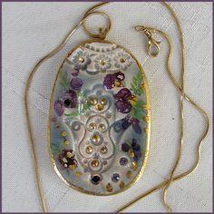 Hamsa Necklace Ceramic Pendant Handmade  Judaica by rachelcart, $41.00