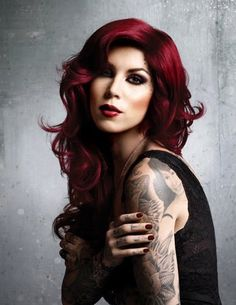 Kat Von d red burgundy fall hair.