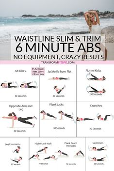 Slim and trim your waistline with this 6 minute ab workout. No equipment needed. Workouts no equipment ? Get Slim and Trim with this 6 Minute Abs Workout, You Won't Believe These Results… - Transform Fitspo Gym Workouts, At Home Workouts, Killer Ab Workouts, Circuit Training Workouts, Killer Abs, Extreme Workouts, Workout Bauch, Fitness Workout For Women, Weights Workout For Women