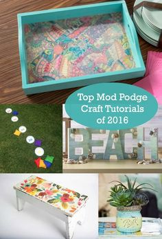 Top 10 Mod Podge Craft Tutorials of 2016 - Mod Podge Rocks Do you love to Mod Podge? This retro craft is a blast, and it's great for beginners. Here are the top 10 Mod Podge craft tutorials of Retro Crafts, Diy And Crafts Sewing, Crafts For Girls, Crafts To Sell, Kids Crafts, Wood Crafts, Crafts Cheap, Beach Crafts, Fall Crafts