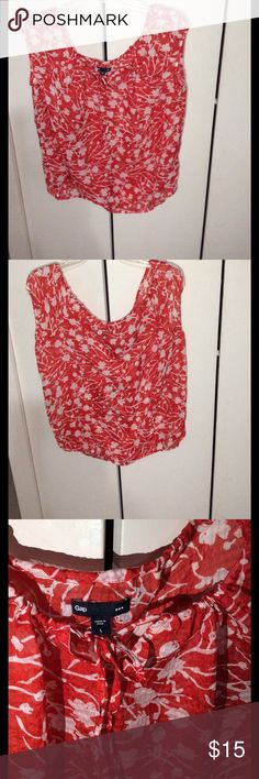 Gap Blouse Flower printed drawstring red and white 100%polyester GAP Tops Blouses