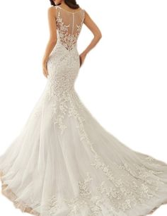 SeasonMall Women's Wedding Dresses Scoop Mermaid Court Train With Applique Size 6 US Ivory