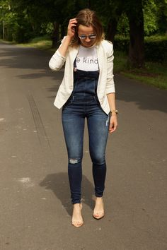 Be Kind T-Shirt + Denim Overalls + White Blazers Zara Heels, Denim Overalls, Thrifting, White Blazers, Hipster, Lifestyle, My Style, Temple, T Shirt