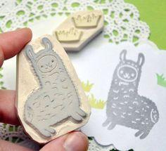 Hand-carved llama stamp set, available at… Llamas, Stamp Printing, Screen Printing, Camelus, Eraser Stamp, Llama Gifts, Stamp Carving, Handmade Stamps, Linocut Prints