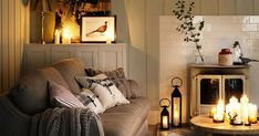 We asked Interior designer Celia Sawyer for her top tips to spruce up your home for winter - here's her inspiration including candles, pillows and throws in the living room