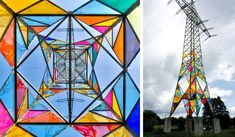 Titled Leuchtturm (Lighthouse) the urban artwork in Hattingen, Germany was conceived by Ail Hwang, Hae-Ryan Jeong and Chung-Ki Park, who used cut triangles of Acrylglas to mimic the function of traditional stained glass pieces. Power Tower, Urbane Kunst, Glass Installation, Colossal Art, Outdoor Art, Stained Glass Windows, Public Art, Urban Art, Lighthouse