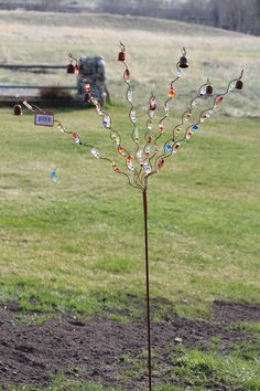 Image Detail for - Rustic Bronze 5 5' Beaded Twist w Bells Flower Garden Pond Yard Stake ...