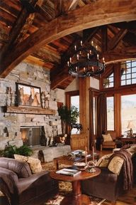 The stacked stone fireplace pictures featured here showcase the extraordinary work of Locati Architects. Based in Bozeman, Montana, the firm's fireplace creations are -- in a word -- STUPENDOUS! Modern Rustic Homes, Rustic Home Design, Home Interior Design, Cabin Homes, Log Homes, Stone Fireplace Pictures, Stone Fireplaces, Atlanta Homes, Great Rooms
