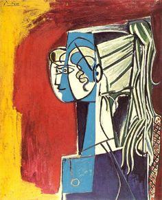 Pablo Picasso, 1954 Portrait de Sylvette David 25 sur fond rouge on ArtStack #pablo-picasso #art