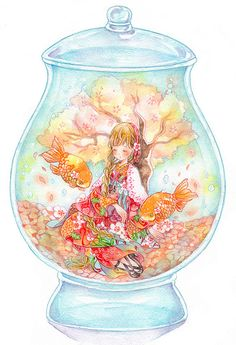 Many of these illustrations featuring the clear insides of snow globes are refreshing and gorgeous. The beauty of glass . Anime Chibi, Kawaii Anime, Kawaii Art, Manga Anime, Anime Angel, Kawaii Drawings, Cute Drawings, Wie Zeichnet Man Manga, Illustrations