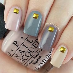 Multi colored matte and gold beaded winter nail art. Don't hesitate to make your nails look amazing with a simple embellishment on top.