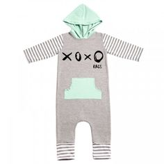 Rags to Raches XOXO Hooded 3/4 Sleeve Romper + Pocket - Mint Grey- Say hello to colder weather with this Rags to Raches romper! Equipped with a pocket for tiny hands and a hood for those sweet little noggins, you can't go wrong with this little number! BabyCubby.com