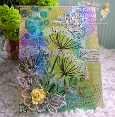 Mix Media Canvas with Stencils - Stamping with Bibiana