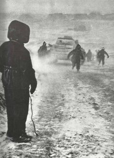 Cold, snowy, desolate and barren landscape of the Ukraine, Kharkov 1943