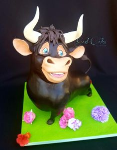Ferdi the Flower Sniffing Bull - cake by GoshCakes Structure cake Carved and sculpted 3d cake