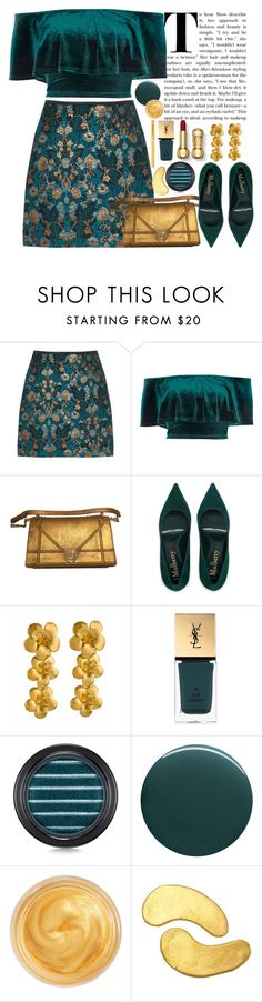"""""""Teal and gold"""" by seventeene ❤ liked on Polyvore featuring River Island, Alex Monroe, Yves Saint Laurent, MAC Cosmetics, Deborah Lippmann, Oribe and Too Faced Cosmetics"""
