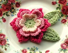 Pink and Green Crochet Flower by AnnieDesign, via Flickr