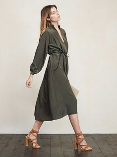 We like to feel like we're wearing pajamas whenever possible. The Joslyn Dress will have you looking nice but also feeling incredibly comfortable. It's almost not fair to the other dresses. This is a lightweight woven silk blend midi dress with a V neckline, long sleeves and pleated detailing at the top. https://www.thereformation.com/products/joslyn-dress-park-creek?utm_source=pinterest&utm_medium=organic&utm_campaign=PinterestOwnedPins