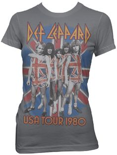 This vintage Def Leppard concert tee is from the band's first tour of the United States, in support of their debut album, On Through the Night. Featuring a classic photo of the hard rocking English group with each member wearing their famous British flag Union Jack sleeveless tshirts and shorts against a British flag background, our women's gray shirt is made from 100% cotton. $23.75