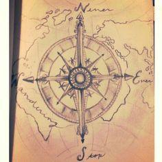 """Never Ever Stop Wandering"" World Map Compass Original quote travel wanderlust"