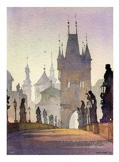 charles bridge - prague 1 by Thomas W Schaller Watercolor ~ 13 inches x 9 inches