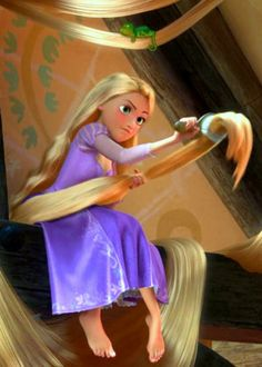Rapunzel brushing her hair. And then ill brush and brush and brush and brush my hair! Oh tell me when will my life begin..