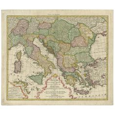 Gorgeous full color example of Homann's map of the region bounded by the Danube in the North, Italy, Sicily and Sardinia in the west and Greece and Asia Minor in the east. Denmark Map, Greece Map, European Map, Road Trip Map, Amalfi Coast Italy, World Map Art, Italy Map, Map Canvas, Framed Maps