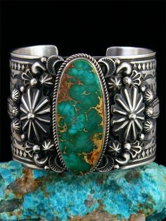 Turquoise Jewelry Native American Native American Indian Jewelry Royston Turquoise Cuff Bracelet - Born in 1959 in Zuni, New Mexico, Albert has been creating traditional silver jewelry since He is also a talented potter and sand painter. This incredi. Turquoise Cuff, Turquoise Jewelry, Turquoise Bracelet, Vintage Turquoise, Armband Diy, Cleaning Silver Jewelry, Wholesale Silver Jewelry, American Indian Jewelry, Fashion Jewelry