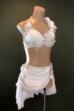 Stunning White Two-Piece Lyrical/ Competition Costume With Applique And Swarovski Adult Size XS Lyrical Costumes, Dance Costumes Lyrical, Lyrical Dance, Contemporary Dance Costumes, Kleidung Design, White Two Piece, Goddess Costume, Latin Dance Dresses, Boris Vallejo