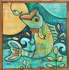 Art: Bass Fishing by Artist Melanie Douthit