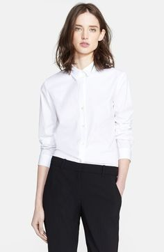Free shipping and returns on Theory 'Larissa 2' Shirt at Nordstrom.com. A stretchy cotton blend forms a crisp point-collar shirt styled with feminine rear darts to soften dapper details like a seamed yoke and shirttail hem.