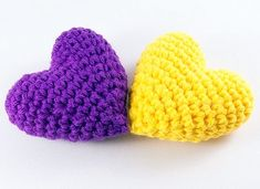 Two Hearts Yellow and Purple Love