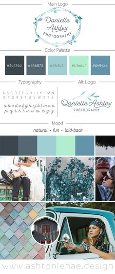 Danielle Ashley Photography Brand Identity, Logo, and Mood Board Design. Boho and Feminine Meets Vintage and Cool. Seafoam Green, Blue, and Grey Color Scheme. Creative Branding with Leafy Wreath. Ashton Lenae Design