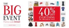40% off everything, including brands, fashion, home & sale products!