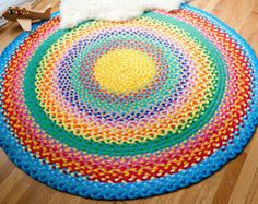 60 braided rug created from recycled and by greenatheartrugs