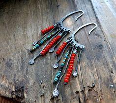 Turquoise Indian Earrings and Sterling Silver - Artisan Earrings - Boho Jewelry - Red Coral Earrings - Gypsy Earrings