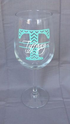 Mint Chevron monogram bridesmaid glass, Tiffany blue Wine glass with monogram and name. Christmas gift idea, Bridesmaid gift, Maid of Honor on Etsy, $11.00