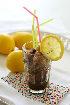 iced coffee, lemon and cardamom