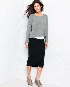 Eileen Fisher Viscose Jersey Calf-Length Skirt