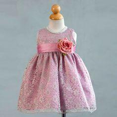 Elegant Dusty Rose Lace Baby Dress