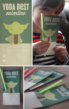 Yoda Valentines with Glow Sticks - um, @Chris Cote Cote Cote Cote Cote Crory you should do this for Aidan and his classmates this year!